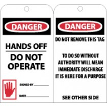 Danger Hands Off Do Not Operate Tag (#RPT33)