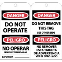 Danger Do Not Operate Bilingual Tag (#RPT90)