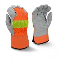 Radians RWG3200HV High Visibility Regular Shoulder Gray Split Cowhide Leather Palm Glove (#RWG3200HV)