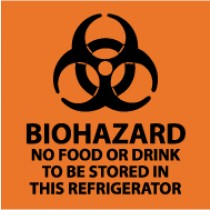 Biohazard No Food Or Drink To Be Stored In This Refrigerator Safety Label (#S71AP)