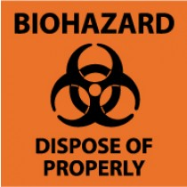 Biohazard Dispose Of Properly Sign (#S92)