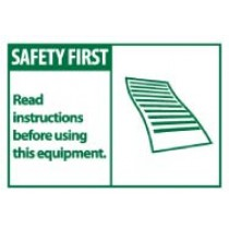 Safety First Read instructions before using this equipment. Machine Label (#SGA6AP)