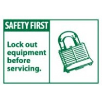 Safety First Lock out equipment before servicing. Machine Label (#SGA8AP)