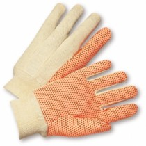 Orange PVC Dotted 10oz. Cotton Canvas Gloves, Women's (#SOK01PDLI)