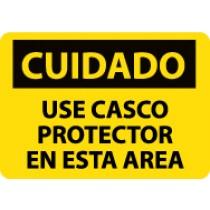 Cuidado Use Casco Protector En Esta Area Sign (#SPC31)