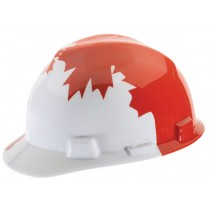 MSA Canadian White with Red Maple Leaf V-Gard Protective Cap (#10050613)