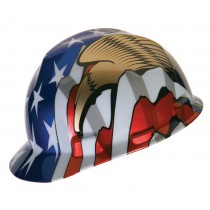MSA American Flag with 2 Eagles V-Gard Protective Cap (#10052947)