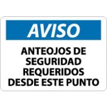 Aviso Anteojos De Seguridad Requeridos Desde Esta Punto Sign (#SPN18)