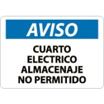 Aviso Cuarto Electrico Almacenaje No Permitido Sign (#SPN368)