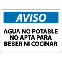 Aviso Agua No Potable No Apta Para Beber Ni Cocinar Sign (#SPN50)