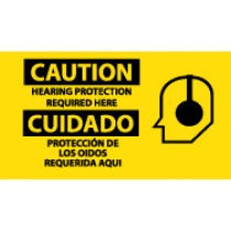 Caution Hearing Protection Required Here Spanish Sign (#SPSA118)