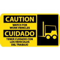 Caution Watch For Work Vehicles Spanish Sign (#SPSA122)