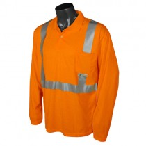Class 2 Hi-Viz Safety Long Sleeve Polo, orange (#ST22-2POS)