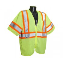 Economy Class 3 with Two-Tone Trim Vest, Hi-Viz Green (#SV22-3ZGM)