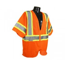 Economy Class 3 with Two-Tone Trim Vest, Hi-Viz Orange (#SV22-3ZOM)