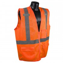 Class 2 Multipurpose Surveyor Orange Safety Vest (#SV27-2ZOM)