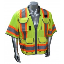 CLASS 3 HEAVY WOVEN TWO TONE ENGINEER VEST, green (#SV55-3ZGD)