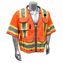 CLASS 3 HEAVY WOVEN TWO TONE ENGINEER VEST, orange (#SV55-3ZOD)