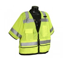 Class 3 Heavy Duty Surveyor Vest, Hi-Viz Green, (#SV59-3ZGD)