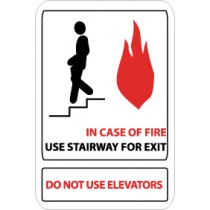 In Case Of Fire Use Stairway For Exit Do Not Use Elevators Sign (#SV61)