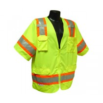 Two Tone Surveyor Class 3 Vest, Hi-Viz Green (#SV63G)