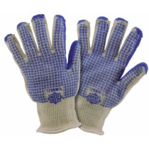 Double Layer Loop In Hot Mill Glove with Blue Nitrile W Pattern (#T25NW)
