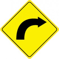 Right Curve Warning Graphic Sign (#TM112J)