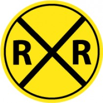 Railroad Crossing Graphic Sign (#TM118J)