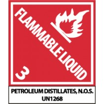 Flammable Liquid DOT Shipping Proper Label (#UN1268AL)