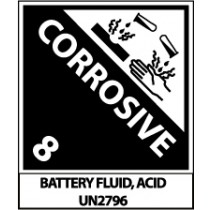 Corrosive DOT Shipping Proper Label (#UN2796AL)