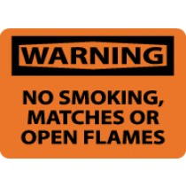 Warning No Smoking, Matches Or Open Flames Sign (#W402)