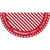 Emergency Exit Half Circle Door Swing Floor Sign