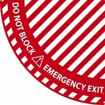 Emergency Exit Quarter Circle Door Swing Floor Sign