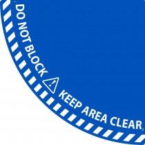 Keep Clear Quarter Circle Door Swing Floor Sign