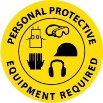 Personal Protective Equipment Required Walk On Floor Sign (#WFS29)