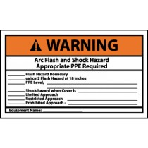 Arc Flash and Shock Hazard Appropriate PPE Required... Warning Label (#WGA18AP)