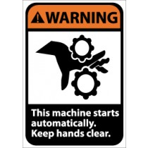 Warning This machine starts automatically. Keep hands clear ANSI Sign (#WGA1)
