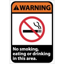 Warning No smoking, eating or drinking in this area ANSI Sign (#WGA28)